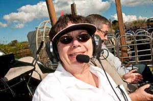 SR wearing headset in airboat