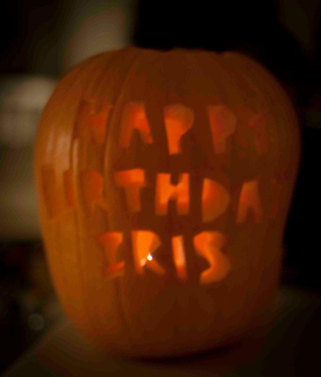 Ally carves a mean pumpkin