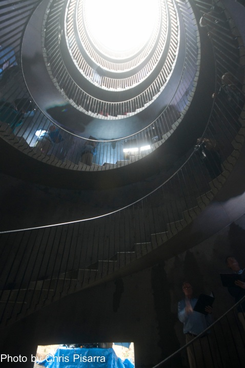 Inside, looking up at the double helix staircases