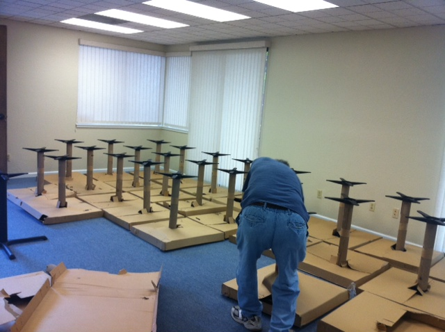 All the pedestals before the tops were attached.