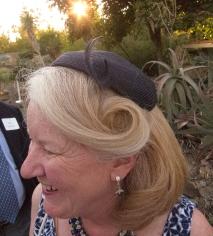 Kathy Bancroft Hidalgo in a vintage hat.