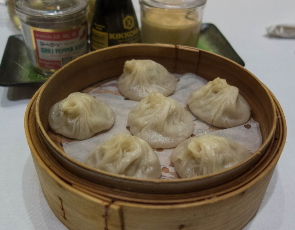 The art of dim sum--bite sized steamed dumplings  to be shared at the table.