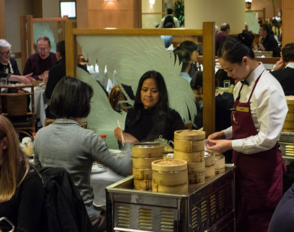 One of the high-stacked carts serving the customers.