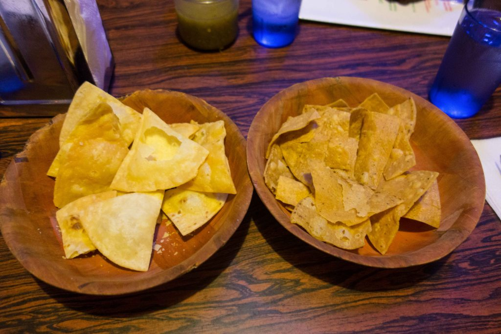 Flour tortilla chips on the left, cor tortilla chips on the right