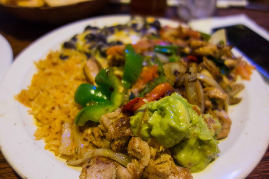 Chicken Fajitas, with black beans and rice.