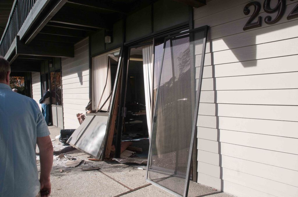 The first sliding glass door, where the car tried to exit.