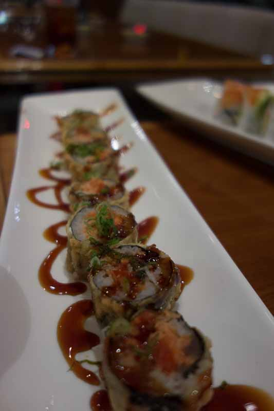 Godzilla roll--deep fried fish and special sauce.
