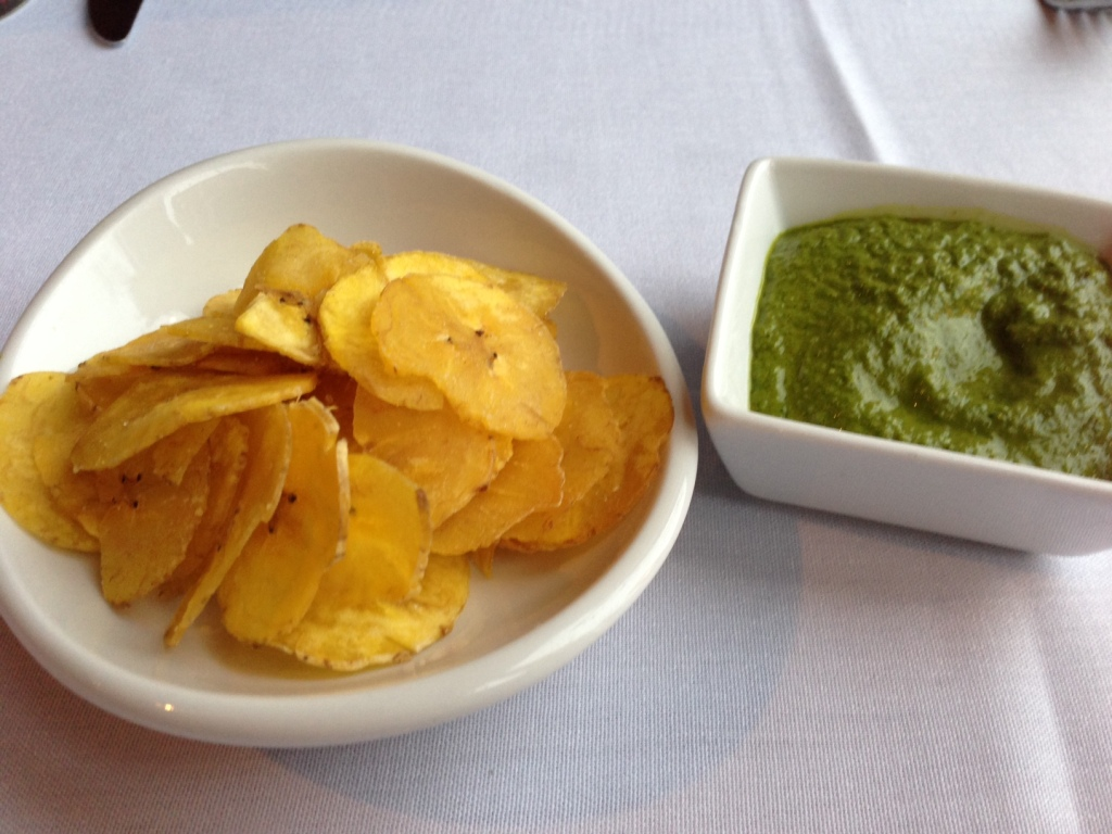 Banana chips and salsa verde