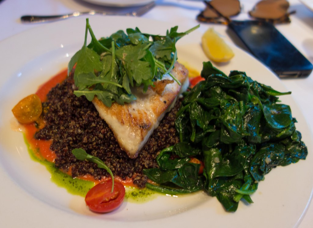 The daily special fish--grilled halibut on quinoa.