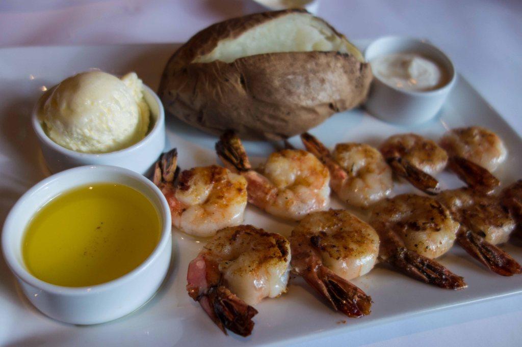 Broiled shrimp on a skewer