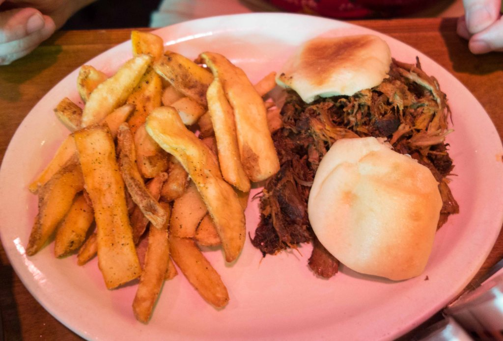 Pulled pork, steak fries and biscuits