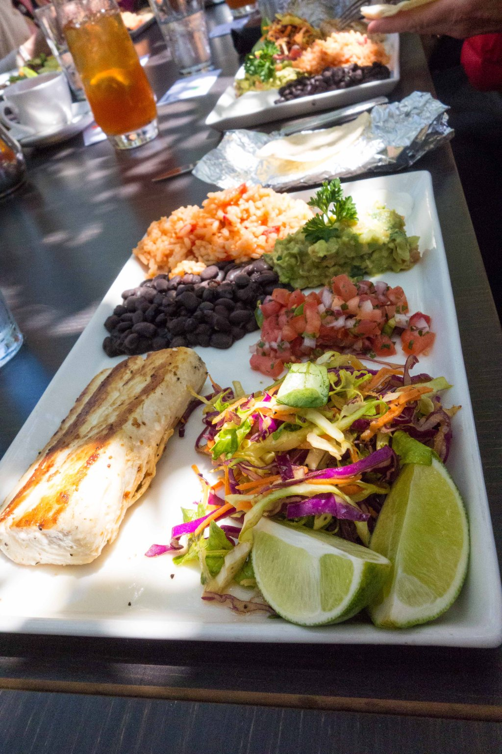All the fixings for a fish taco, you just have to do the work for yourself