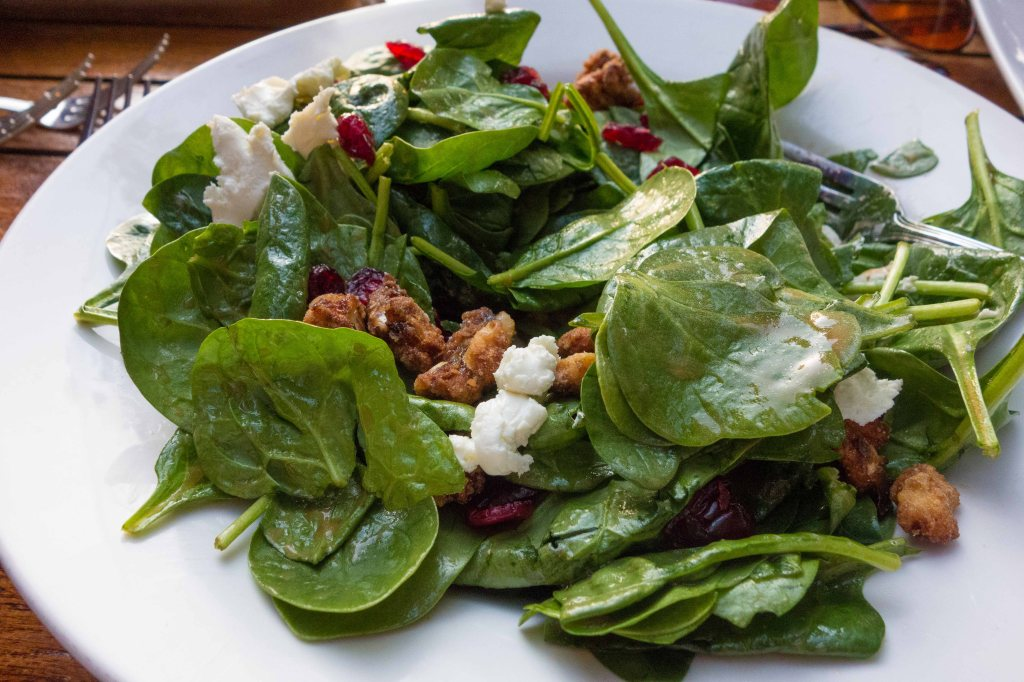 Warm goat cheese and cranberry spinach salad.