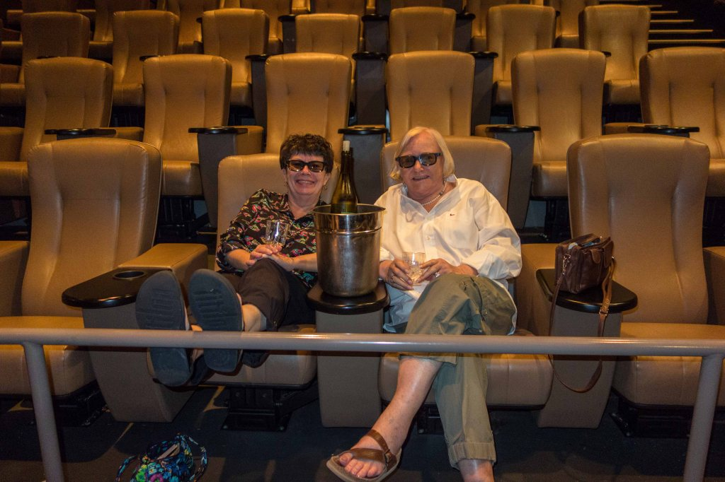 Susan and Gail, with their 3D glasses and their bucket of ice.  All is right with the world.