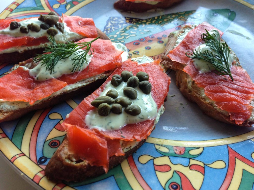 Smoked salmon beats peanut butter pretzels any day.