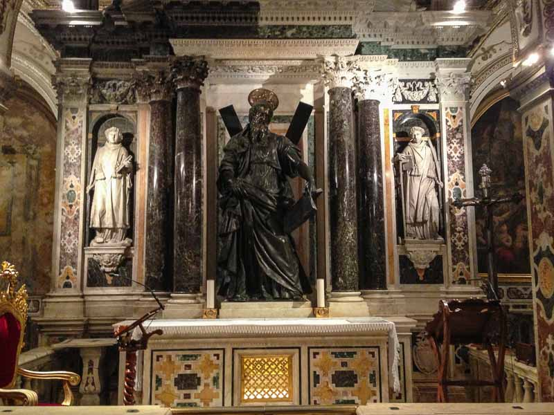 The altar of St Andrew, the sculpture was created by a student of Michaelangelo