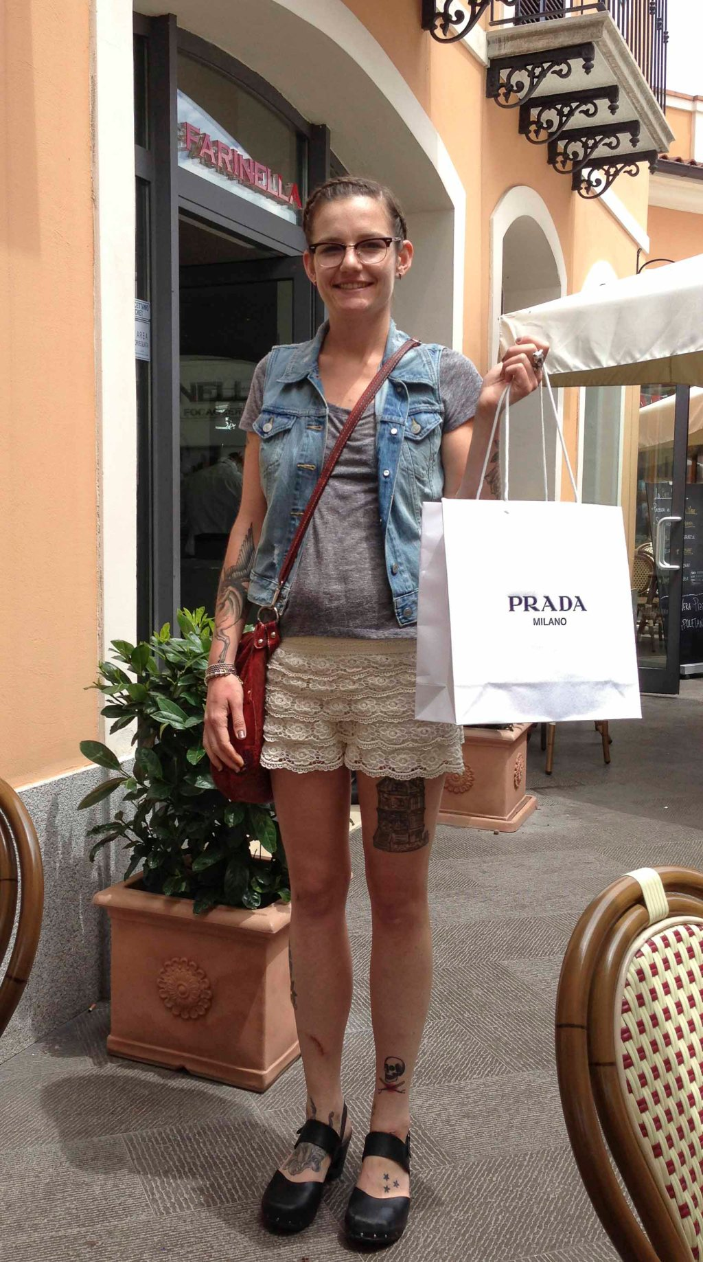 The pants are in the bag--the lace shorts came from Positano.