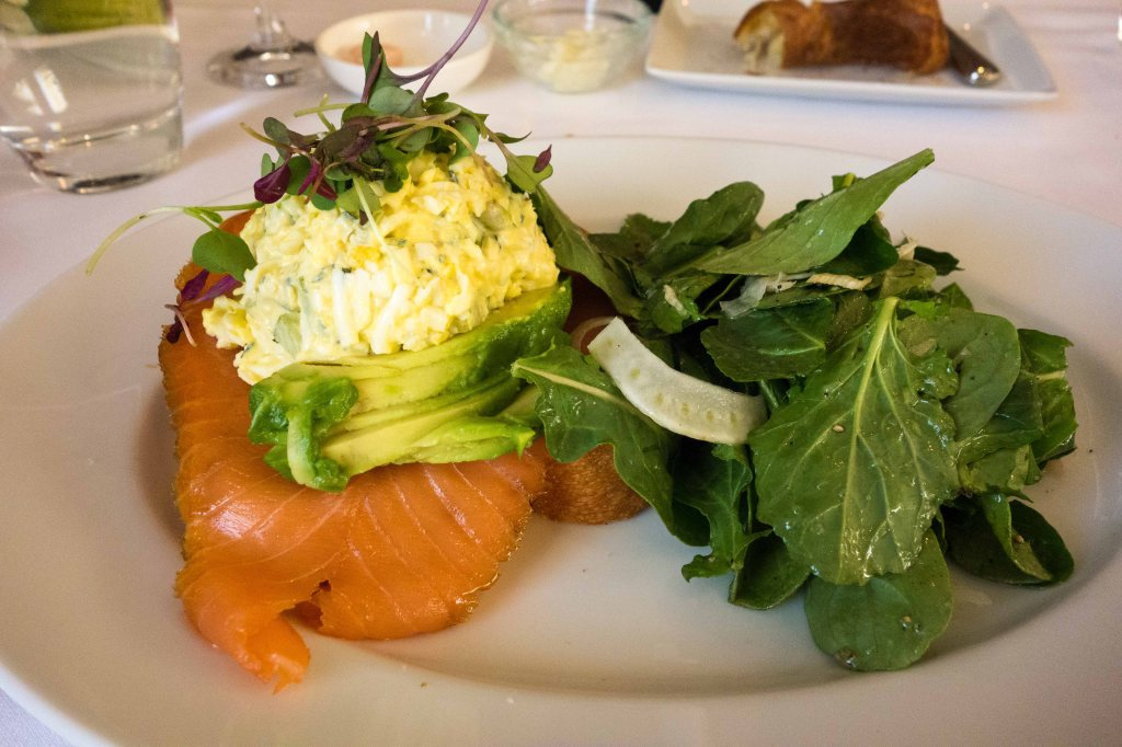 Smoked salmon and truffled egg salad