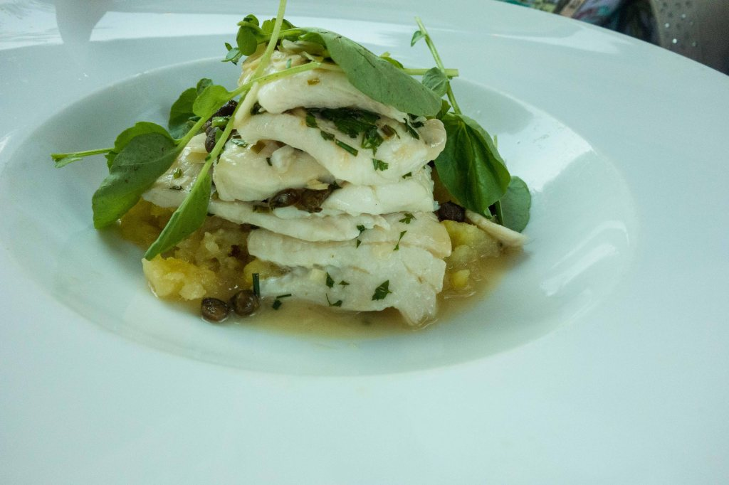 Petrale sole, crushed potatoes and Napa verjus reduction
