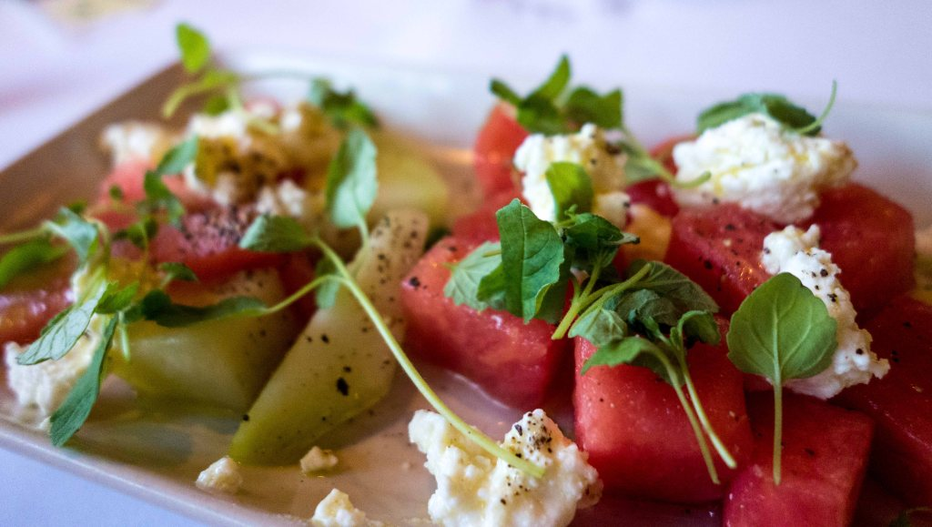 Melon salad with marinated feta and basil