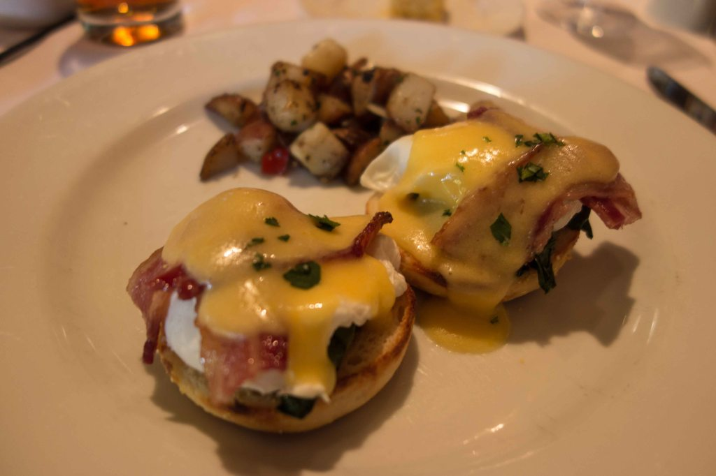 English muffins, poached eggs, Canadian bacon and hollandaise.  Don't tell your cardiologist.