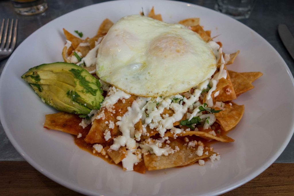 Chilaquiles with a fried egg.