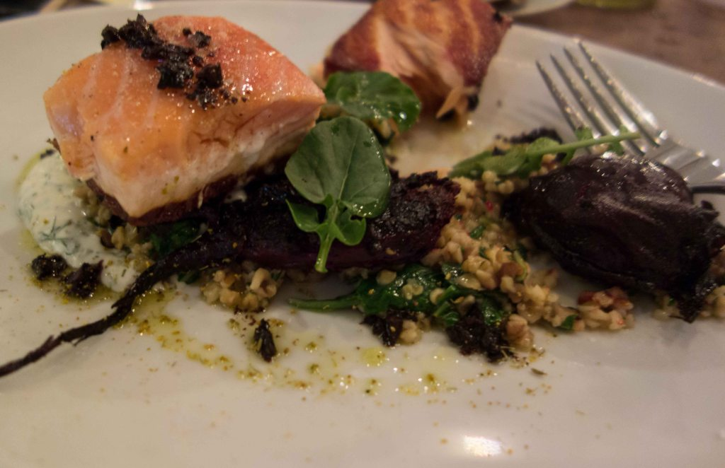 Seared salmon and smashed beets