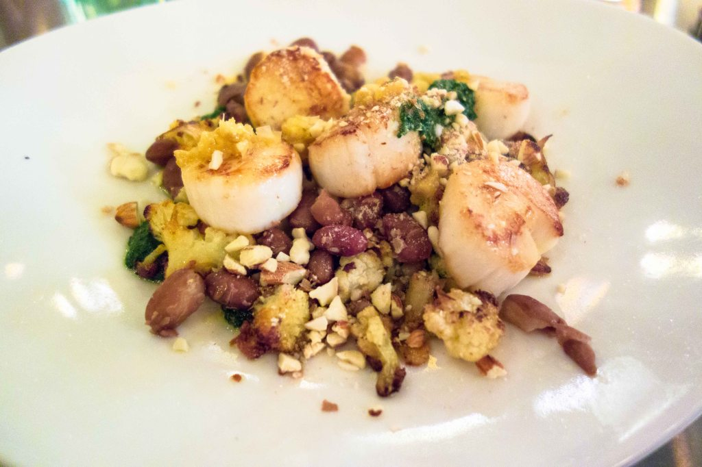 Scallops, beans, cauliflower and wild nettle pesto.