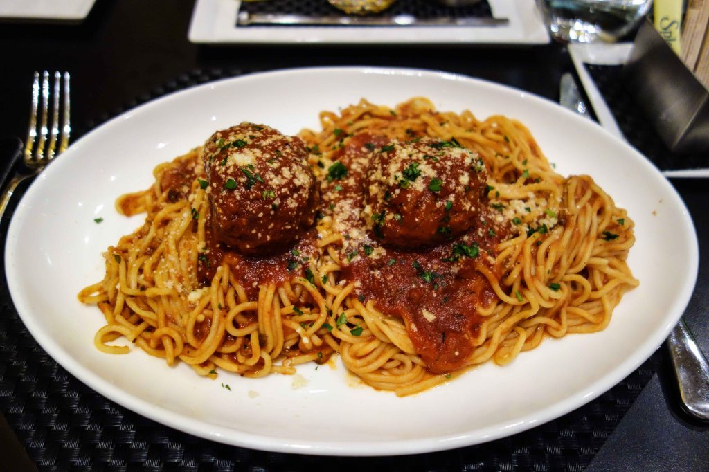 Grandma's spaghetti and meatballs.