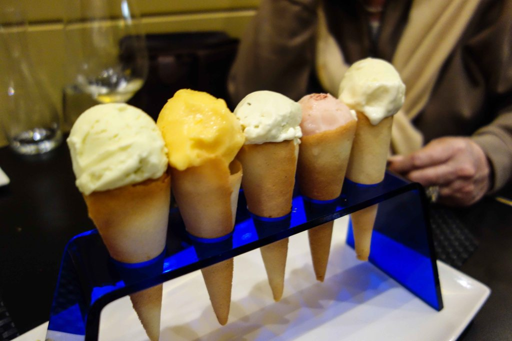 An array of cones to finish the meal