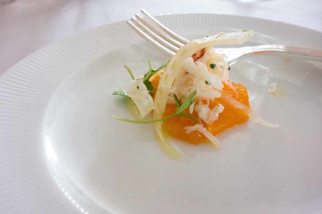 Not many places give you an amuse bouche with lunch.  Fresh crab and a bit of tangerine.