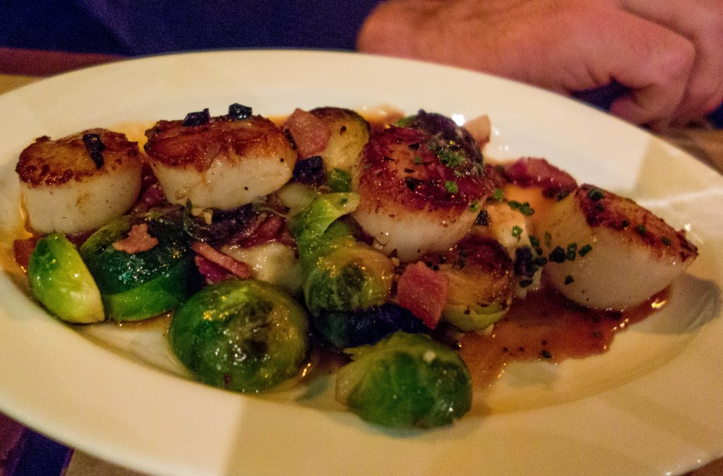 Scallops and brussels sprouts.  A great idea.