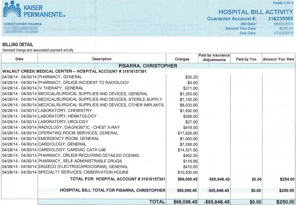 The bill for my angioplasty.
