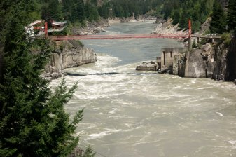 Hells Gate, on the Fraser River. Supposedly as much water through this small gap as all of Niagara.