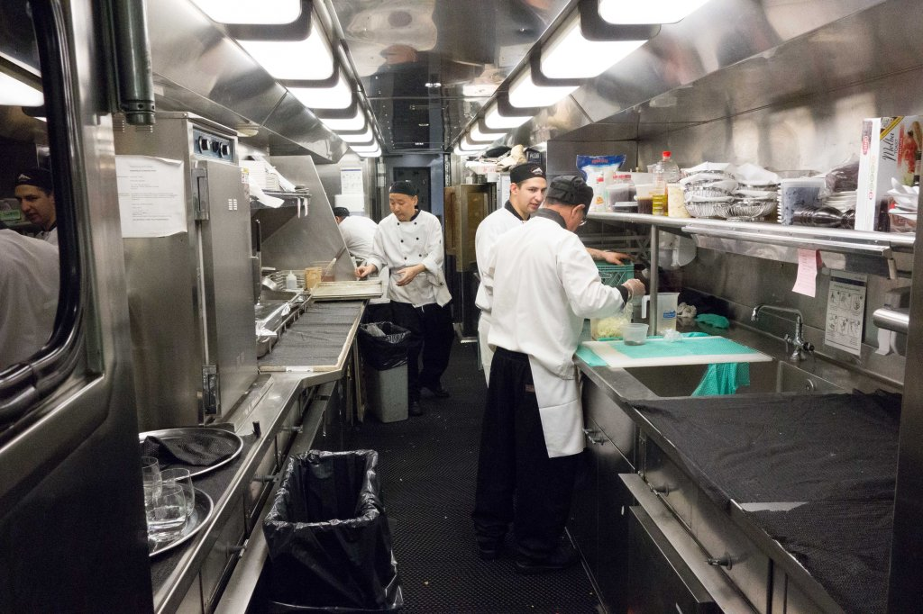 A marvel of efficiency and design--the railroad kitchen