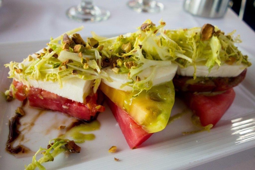Heirloom tomato caprese salad with watermelon.