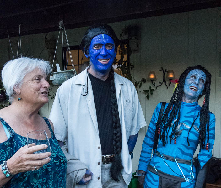 Our hostess, Kristen Yanker-Hansen, with a couple of aliens.