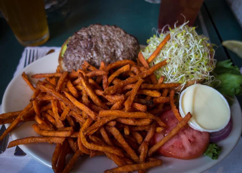 Danville burger, hold the bacon.   Still enough calories to power a bulldozer.