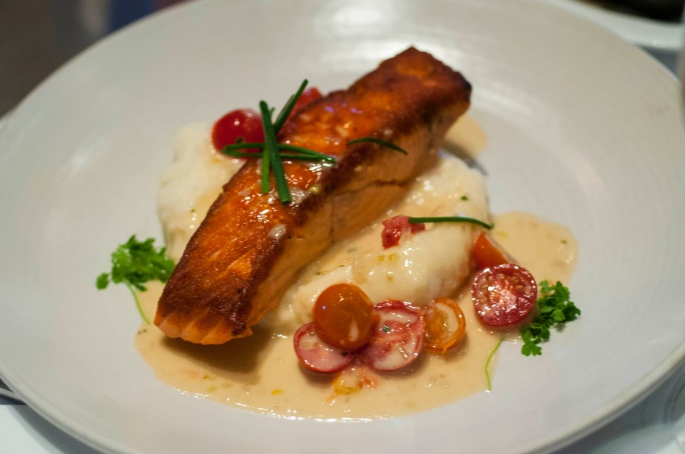 Grilled Salmon, mashed spuds and tiny tomatoes.