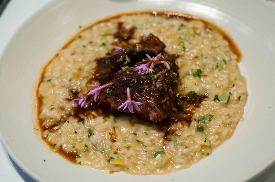 Leek Risotto with short ribs.