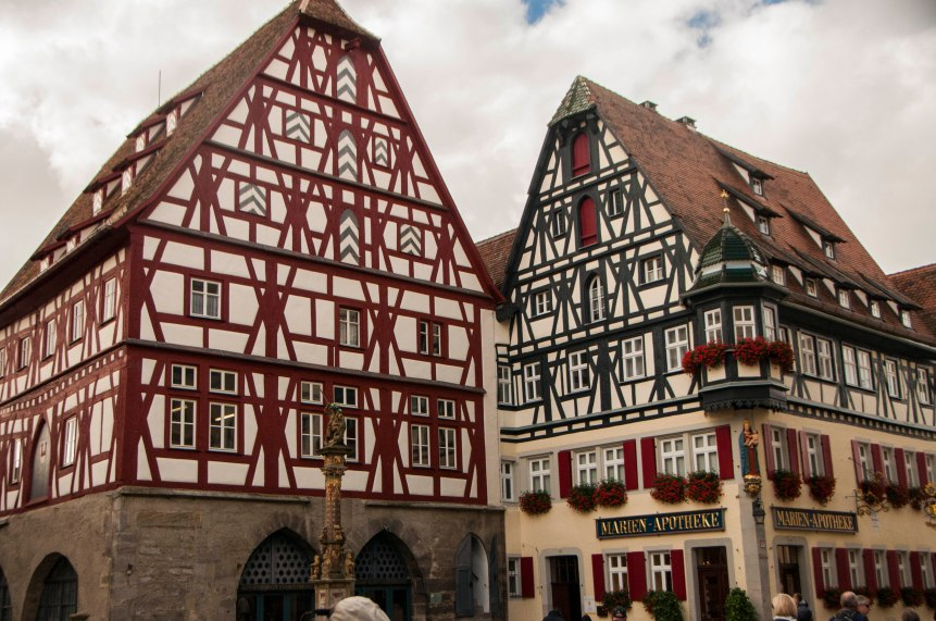 Half-timbered architecture is the hallmark of medieval German building.
