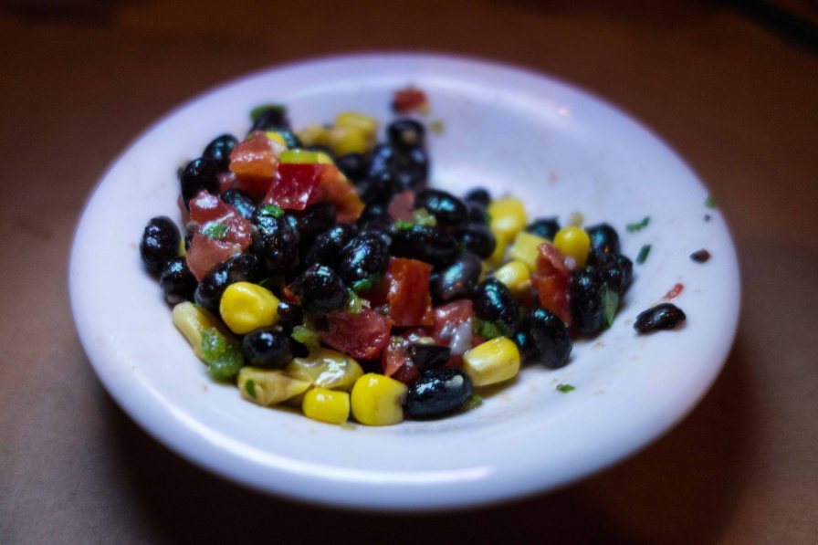 Black bean salsa to start with.