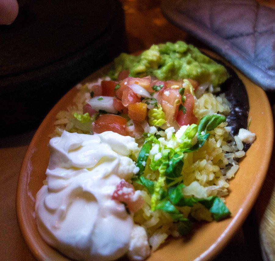 Sour cream, guacamole, tomatoes, salsa verde