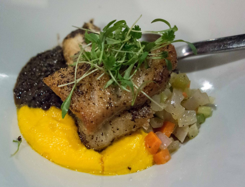 Black Cod on lentils and squash puree.