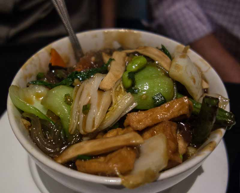 Chinese vegetables, tofu, willow tree fungus, mung bean thread, mushrooms soy garlic