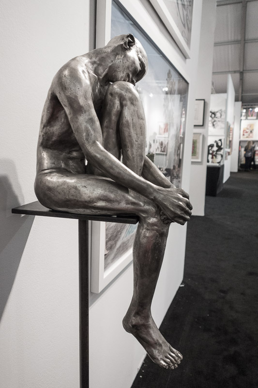 Bronze sculpture with a silver patina.