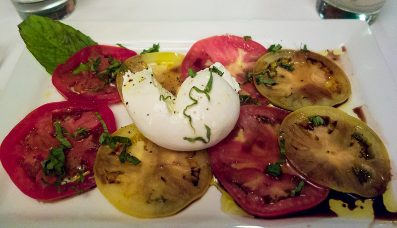 Tomato carpaccio with buratta