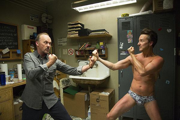 Michael Keaton and Ed Norton in Birdman