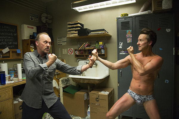 Michael Keaton and Ed Norton in Birdman