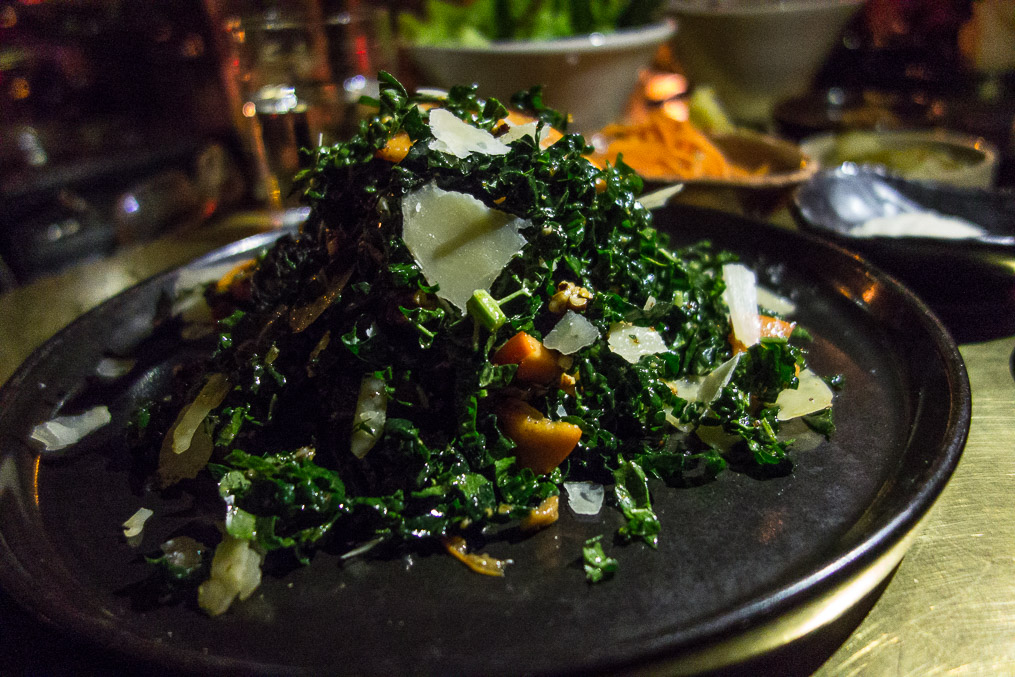 Kale and Persimmon salad, post massaging.